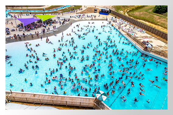 Wide Aerial Shot of Wave Pool